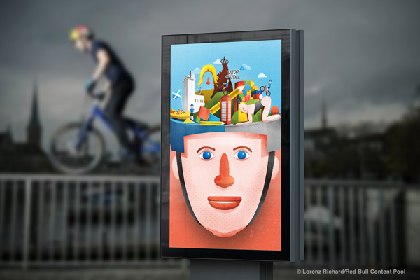 Danny MacAskill Portrait Illustration Colourful Drop and Roll Cascadia The Ridge Playboy Bunny Red Bull Trial Bike Mockup Billboard
