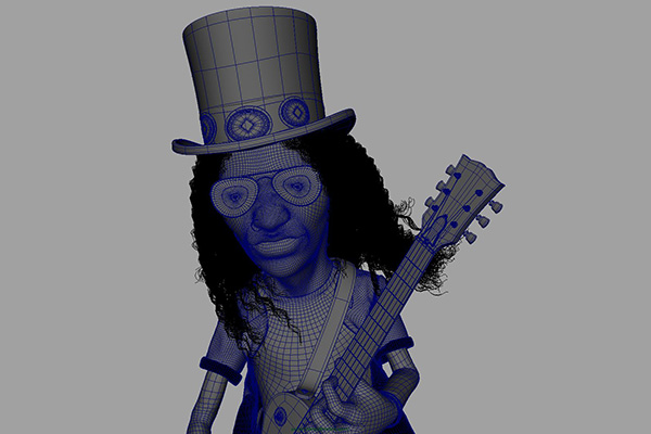 studioastic slash portrait illustration CGI guns n roses saul hudson wireframe